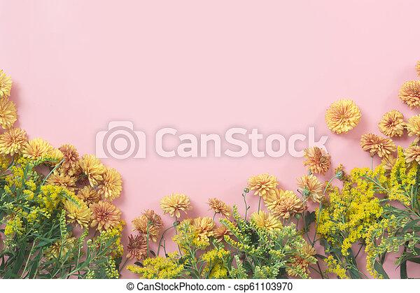 ピンク, パステル, pattern., バックグラウンド。, fall., golden-daisy, 花, 花, ボーダー - csp61103970