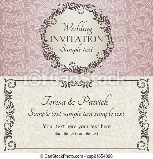 ピンク, ブラウン, 招待, ベージュ, 結婚式, バロック式 - csp21654026
