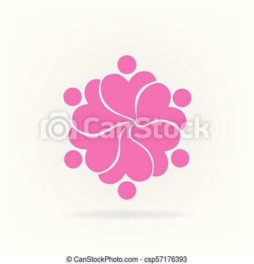 ピンク, ロゴ, 花, チームワーク - csp57176393