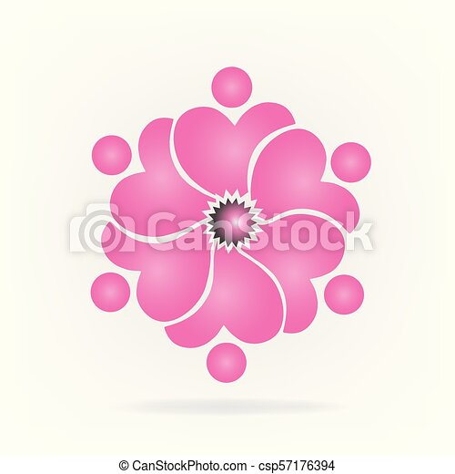 ピンク, ロゴ, 花, チームワーク - csp57176394