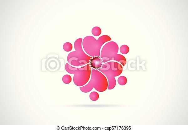 ピンク, ロゴ, 花, チームワーク - csp57176395