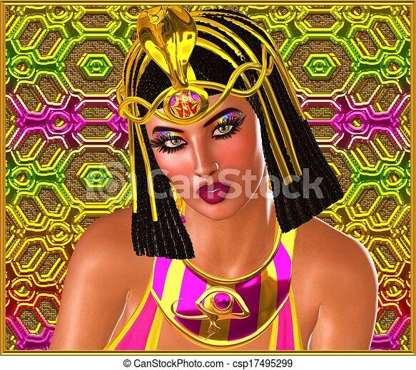 ピンク, 女, gold., エジプト人 - csp17495299