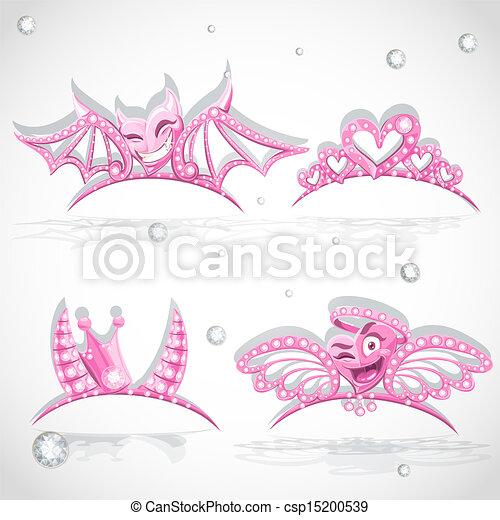 ピンク, 悪魔, カーニバル, 天使, セット, 衣装, 心, ティアラ - csp15200539