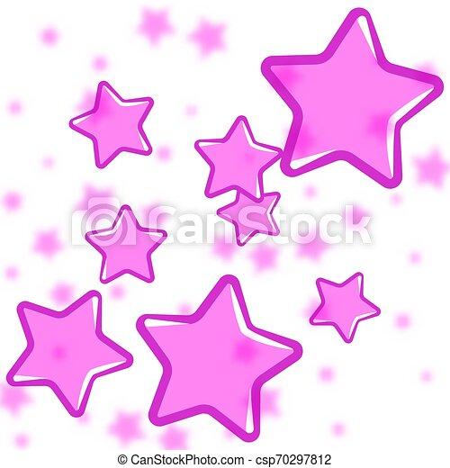ピンク, 抽象的, 白い背景, 星 - csp70297812
