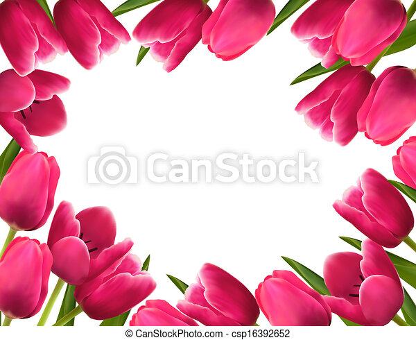 ピンク, 春, イラスト, バックグラウンド。, ベクトル, 新鮮な花 - csp16392652