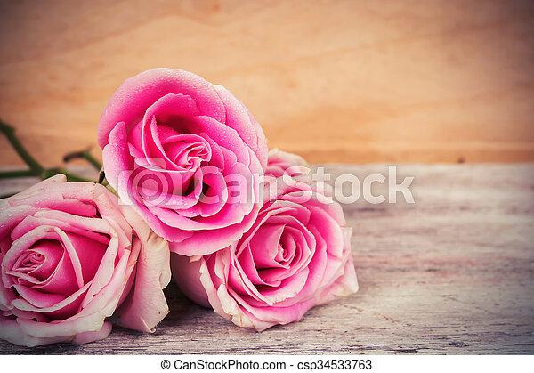 ピンク, 木製である, 花, 背景, バラ - csp34533763