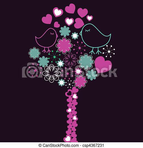 ピンク, 木, 鳥, 背景 - csp4367231
