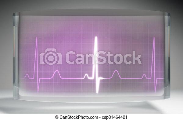 ピンク, 液体, ekg, 医学, 水晶, ディスプレイ, 未来派 - csp31464421