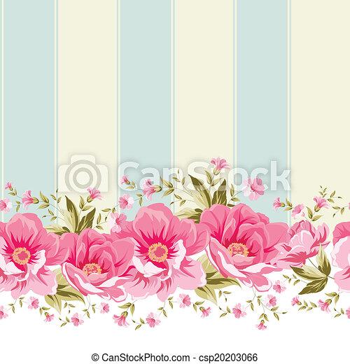 ピンク, tile., 花, ボーダー, 華やか - csp20203066