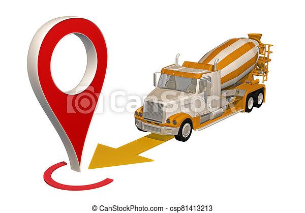 ピン, 地図, コンクリート, トラック, 行く, ミキサー - csp81413213