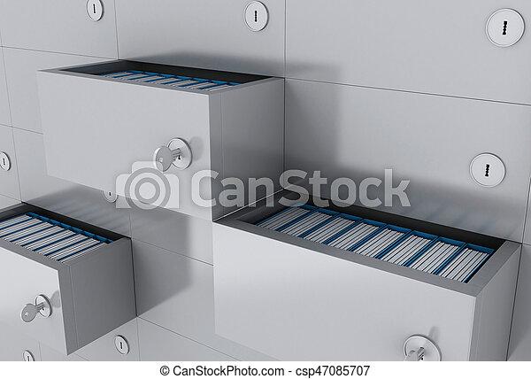 ファイル, フォルダー, 3d, 開いた, キャビネット - csp47085707