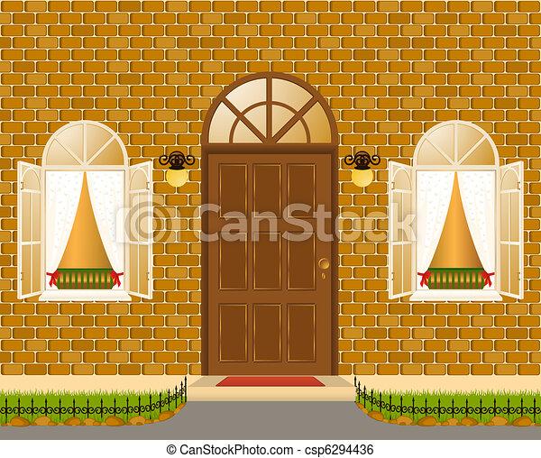 ファサド, 家, windows., ベクトル - csp6294436