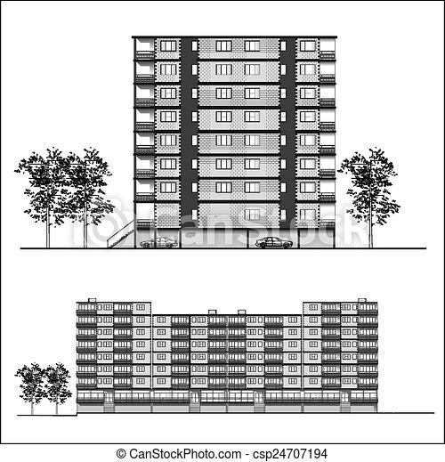 ファサド, 建物, -, 居住 - csp24707194