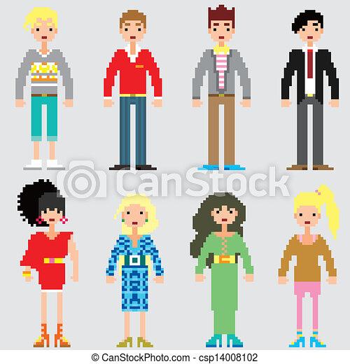 ファッション, ピクセル, 人々 - csp14008102