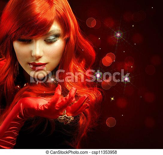 ファッション, マジック, portrait., hair., 女の子, 赤 - csp11353958