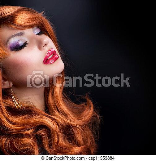 ファッション, 波状, hair., 肖像画, 女の子, 赤 - csp11353884
