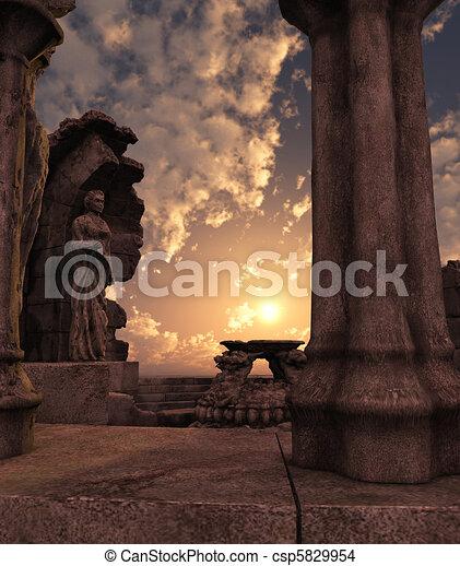 ファンタジー, 台なし, 寺院 - csp5829954