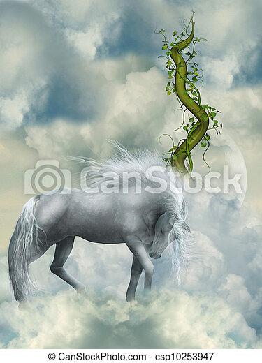 ファンタジー, 白い馬 - csp10253947