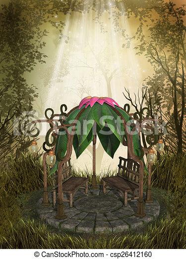 ファンタジー 風景 ファンタジー Gazebo 森林 風景