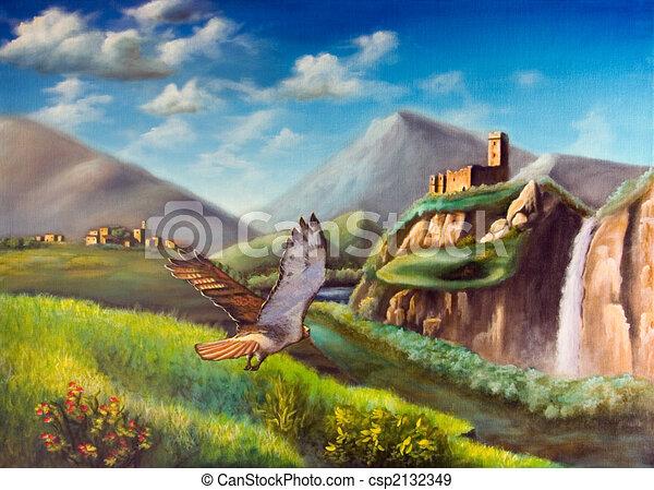 ファンタジー 風景 景色 キャンバス ペイントされた 飛行 イラスト 手 によって 想像 タカ オリジナル