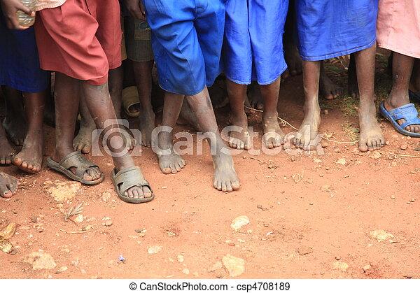 フィート, 子供, アフリカ - csp4708189