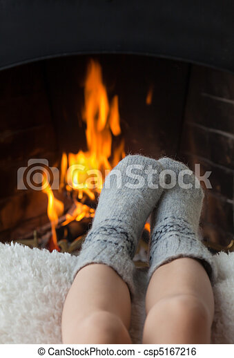 フィート, 子供, 暖炉, 加熱された - csp5167216