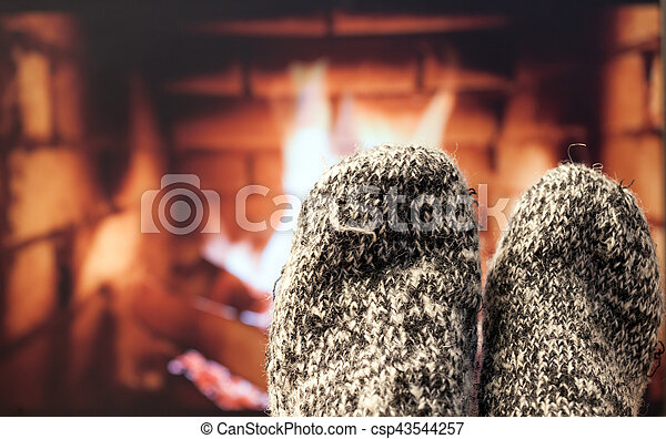 フィート, 毛織りである, 暖炉, ソックス - csp43544257