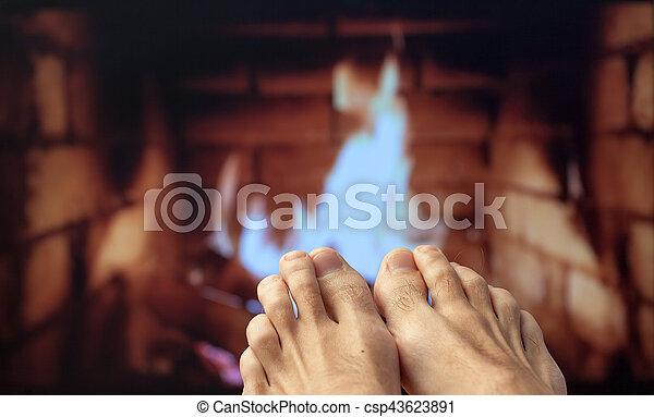 フィート, 足, 暖炉, 加熱された - csp43623891