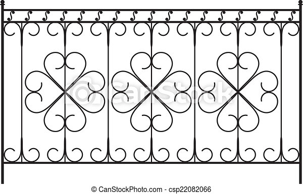 フェンス, グリル, ドア, 窓, デザイン, 鉄, 手すり, 細工された, 門 - csp22082066