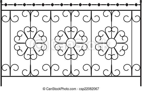 フェンス, グリル, ドア, 窓, デザイン, 鉄, 手すり, 細工された, 門 - csp22082067