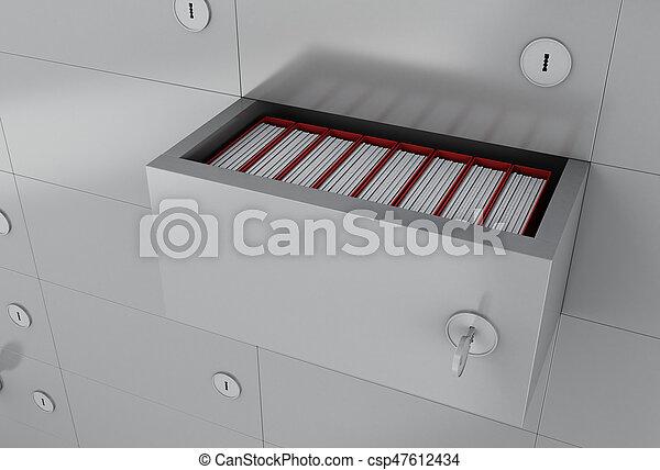 フォルダー, 3d, ファイルを開けなさい, キャビネット - csp47612434