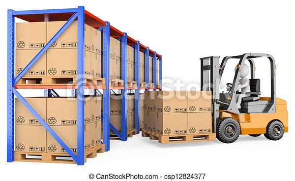 フォークリフト, 人々。, 倉庫, 3d, 白 - csp12824377
