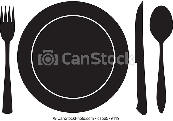 フォーク, スプーン, ベクトル, 皿一杯, ナイフ - csp6579419