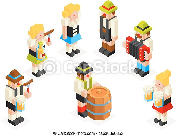 フォーク, oktoberfest, 等大, セット, アイコン, 小樽, アコーディオン, ソーセージ, 平ら, ガラス, ビール, ベクトル, デザイン, イラスト, 女性, 人, 男性の女性, 3d - csp30396352