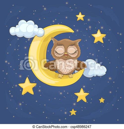 フクロウ, わずかしか, 星, 雲, モデル, イラスト, 月, ベクトル, 閉じられた, 夜, あくびする, eyes., 漫画 - csp48986247