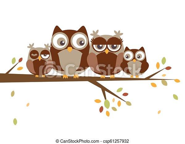 フクロウ, 漫画, 家族 - csp61257932
