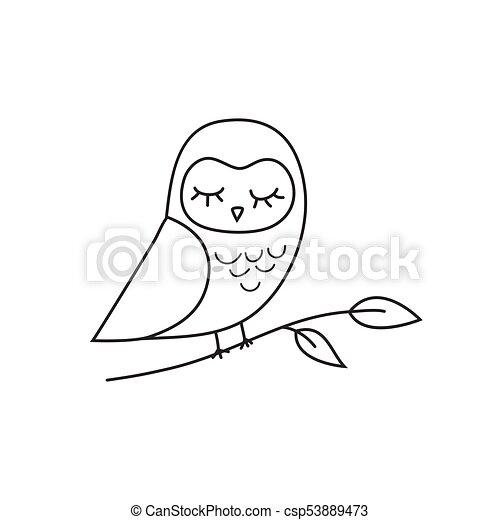 フクロウ, 紋章, アウトライン, アイコン - csp53889473