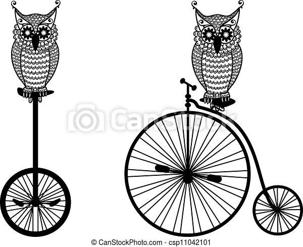 フクロウ, 自転車, ベクトル, 古い - csp11042101