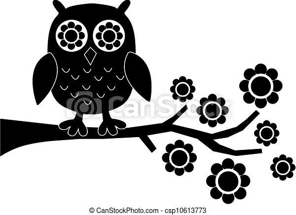 フクロウ, 花, 黒 - csp10613773