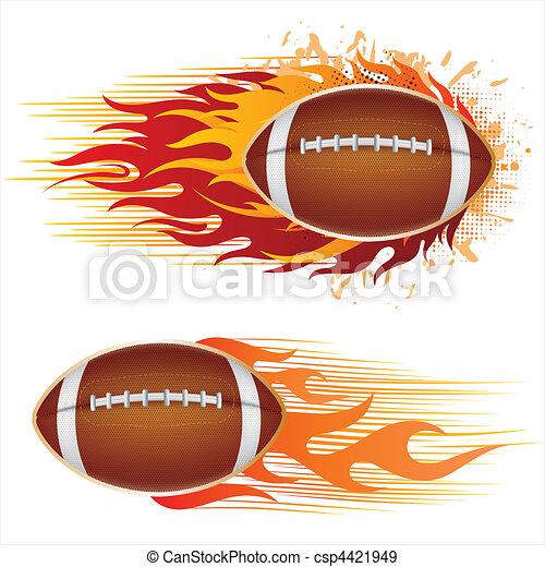 フットボール, アメリカ, 炎 - csp4421949