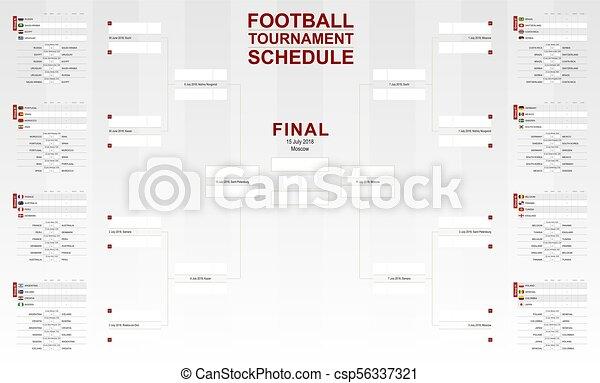 フットボール, カップ, schedule., トーナメント, ベクトル, 世界, 2018, サッカー, bracket. - csp56337321