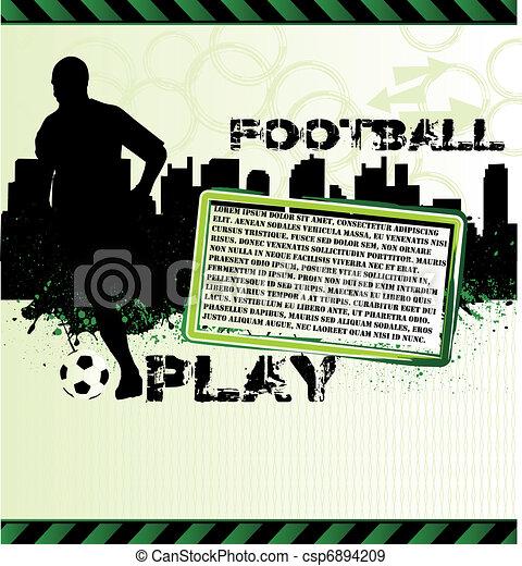 フットボール, グランジ, プレーヤー, サッカー, ポスター, 都市, シルエット - csp6894209