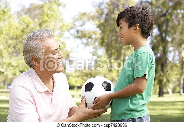 フットボール, 公園, 孫, 祖父 - csp7423936