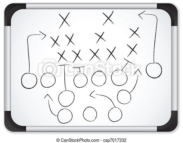 フットボール, whiteboard, -, 作戦, ゲーム, ベクトル, チームワーク, 計画 - csp7017332