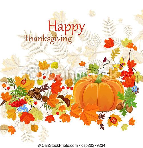 フライヤ, 感謝祭, 秋, 背景, 祝福, 日, 幸せ - csp20279234