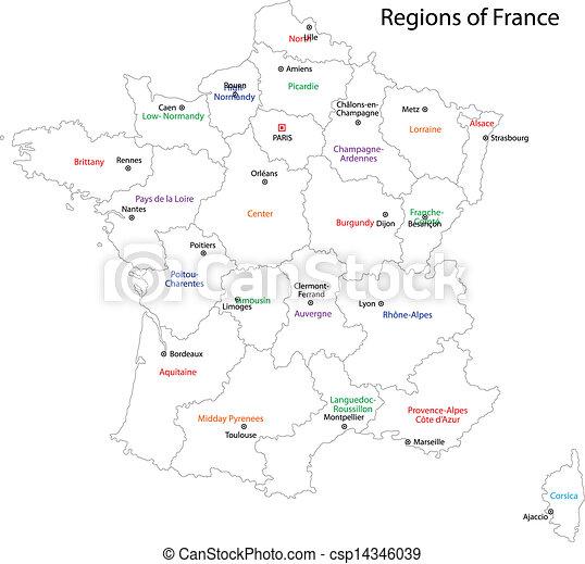 フランス, 地図, アウトライン - csp14346039