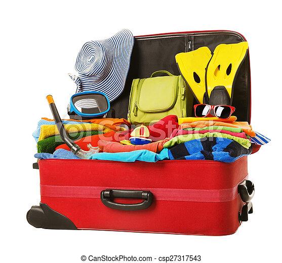 フルである, 手荷物, 休暇, 赤, スーツケース, 開いた, パックされた, 衣服 - csp27317543