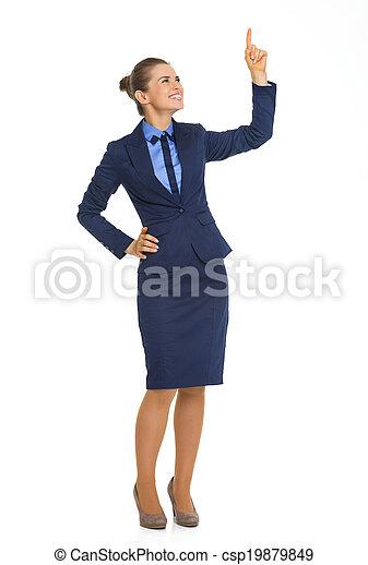 フルである, 指すこと, ビジネス, スペース, の上, 長さ, 女性の 肖像画, コピー - csp19879849
