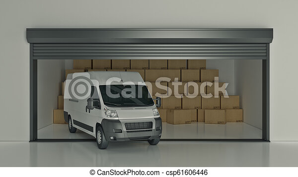 フルである, 自己, 貯蔵, レンダリング, 箱, ボール紙, truck., 開いた, ユニット, 3d - csp61606446