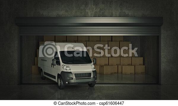 フルである, 自己, 貯蔵, レンダリング, 箱, ボール紙, truck., 開いた, ユニット, 3d - csp61606447